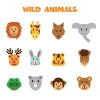 vilda djur ikoner vektor
