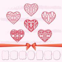 En uppsättning hjärtan och en samling ramar med olika former genom att klippa ut papper. vektor