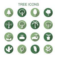 träd långa skugga ikoner