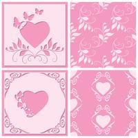 Klipp pappersram i form av hjärta. Två sömlösa mönster för alla design. Vektorillustration.