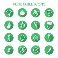vegetabiliska långa skugga ikoner vektor