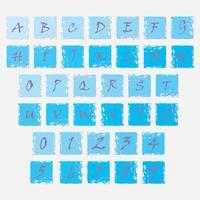 Grungesymboler med bokstäver i alfabetet och siffror