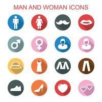 man och kvinna långa skugga ikoner vektor