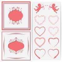 En uppsättning pappersklippt ramverk. Uppsättning av hjärtan till cupids och design. Vektorillustration.