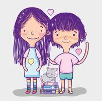 Flickor med böcker