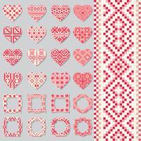 Uppsättning av dekorativa ramar och hjärtan i etnisk stil. Seamless mönster.