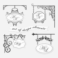 Set von Schildern. Kann als Rahmen, Zeichen für Design und Design verwendet werden. vektor