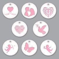 Etiketten zum Valentinstag. Isolierte Objekte mit unterschiedlicher Dekoration zum Thema Liebe