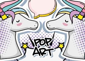 Pop art enhörning vektor
