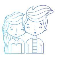 line skönhet par tillsammans med frisyr design
