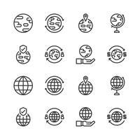 Global relaterad ikonuppsättning. Vektorillustration vektor