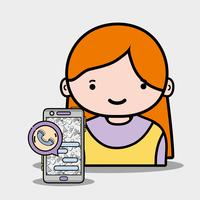 tjej med smartphone-app att ringa och chatta vektor