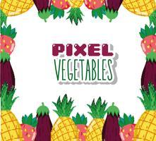 Pixel grönsaker tecknade filmer vektor