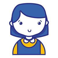 avslappnad tjej med frisyr- och blusuniform