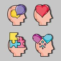 ställa in psykologiproblem och terapibehandling vektor