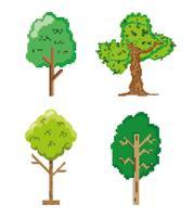Satz pixelated Ikonen des Gartens und der Natur vektor