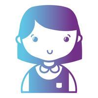 line casual flicka med frisyr och blus uniform