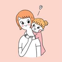 Netter Mutter- und Tochtervektor der Karikatur. vektor