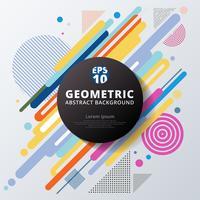 Geometrisches Musterdesign und -hintergrund des abstrakten bunten Farbkreises.