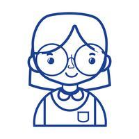 silhuett avslappnad flicka med frisyr och blus uniform