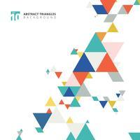 Abstrakta moderna färgglada triangelmönsterelement på vit bakgrund med kopieringsutrymme.