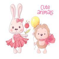 Söta tecknade djur hare och igelkott hand ritning. Vektor
