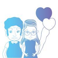 Linie paar zusammen mit Frisur und Herzen Luftballons
