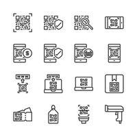 Qr-kodrelaterad ikonuppsättning. Vektorillustration