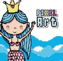 Pixelkunst-Wasserweltkarikaturen vektor
