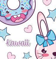 Söta kawaii-tecknade filmer vektor