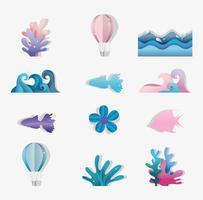 Uppsättning av papper konst ikoner