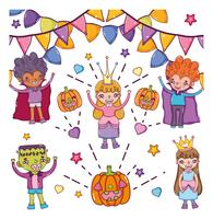 Satz Halloween-Charakterkarikaturen vektor