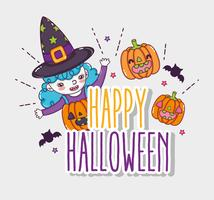 Glückliche Halloween-Kartenkarikaturen