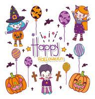 Uppsättning av halloween tecknade filmer vektor