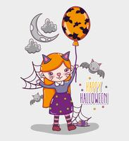 Glückliche Halloween-Kartenkarikaturen vektor