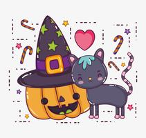 Halloween katt tecknad film vektor