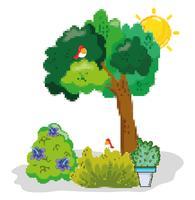 Pixelated trädgårdslandskap vektor