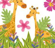 Niedliche Cartoons der niedlichen Giraffenwild lebenden tiere vektor