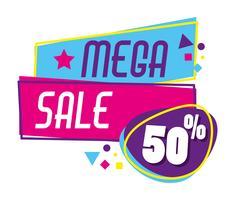 Mega Sale Rabatte Poster Memphis Stil vektor