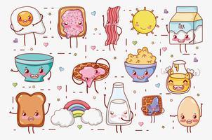 Süßes Frühstück kawaii nette Karikaturen