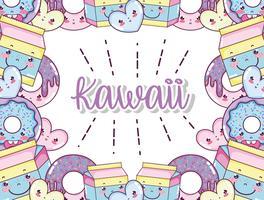 Kawaii söta tecknade filmer vektor