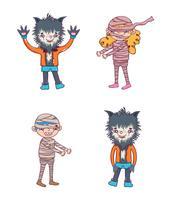 Satz Halloween-Charakterkarikaturen