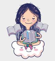 Söt flicka med böcker