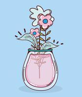 Strauß Blumen im Einmachglas vektor