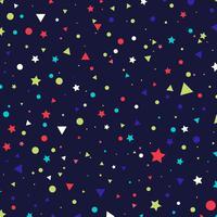 Bunte kleine Kreise, Sterne und Dreiecke des abstrakten Musters auf blauem Hintergrund. Unendlichkeit geometrisch.