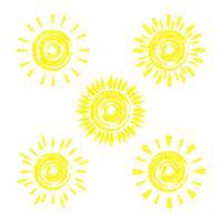 Satz der lustigen Vektorgekritzelsonne. Um Ihre Ideen zu entwerfen. vektor