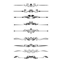 Kalligrafiska designelement. Avdelare, ramar i olika former. Vektor
