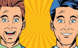 Pop-Art überrascht Geschäftsleute Gesichter Cartoon