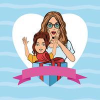 Pop-Art-Mutter und Tochter-Kartenkarikatur