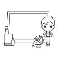 söt liten studentpojke med styrelse och skolor